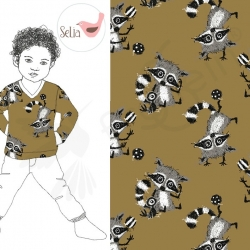 Cotton Jersey - Raccoon Dreams - Brown