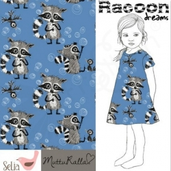 "Remnant 27""-Cotton Jersey-Raccoon Dreams-Blue"