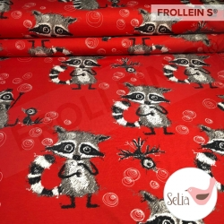 Organic Cotton Jersey - Raccoon Dreams-Red