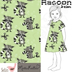 Cotton Jersey - Raccoon Dreams - Green