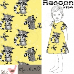 Fat Half - Cotton Jersey - Raccoon Dreams-Yellow