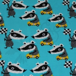 Organic Cotton Jersey - Badger Race - Aqua