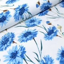 Organic Cotton Jersey - Cornflowers -Blue