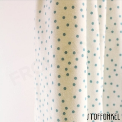 Organic Cotton Jersey - Dotties - White/Stillwater