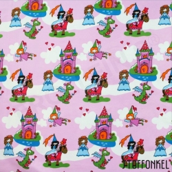 Organic Cotton Jersey - Fairy Castle - Pink
