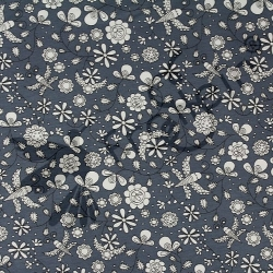 Organic Cotton Jersey-Fantastico-Flowers-Blue