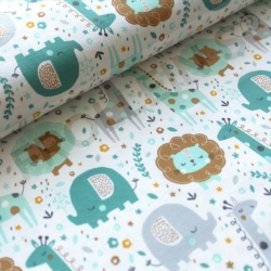 Organic Cotton Jersey - Mini Jungle - Mint