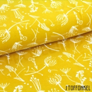 Organic Cotton Jersey - Grass flowers-Mustard