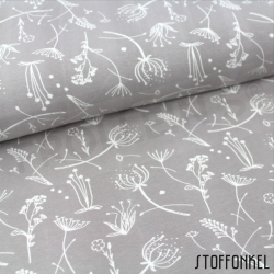 Organic Cotton Jersey - Grass flowers-Stonegray