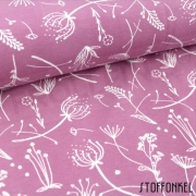 Organic Cotton Jersey - Grass flowers-Vintage Rose