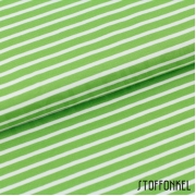 Organic Cotton Jersey - Stripes Green/White