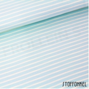 Organic Cotton Jersey - Stripes Light Turquoise/Vanille