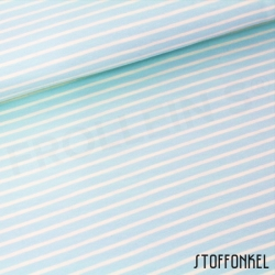 Organic Cotton Jersey - Stripes Light Blue/Vanille