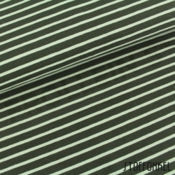Organic Cotton Jersey - Stripes Olive Green