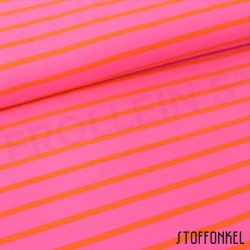 Organic Cotton Jersey - Stripes Hot Pink/Red