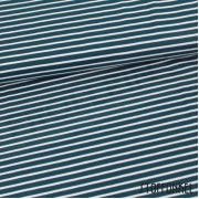 Organic Cotton Jersey - Stripes Water by Night-Blue