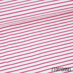 Organic Cotton Jersey - Stripes White/Raspberry