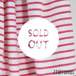 Organic Cotton Jersey - Stripes Raspberry-White