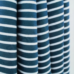 Organic Cotton Jersey - Stripes -Water by Night