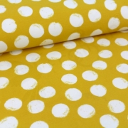 Organic Sweat Fabric - Mellow Dots -Mustard