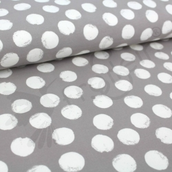 Organic Sweat Fabric - Mellow Dots -Stonegray