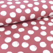 Organic Sweat Fabric - Mellow Dots -Vintage Rose