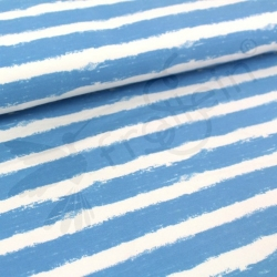 Organic Sweat Fabric - Mellow Stripes -Light Blue