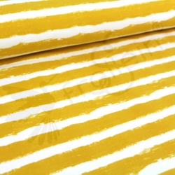 Organic Sweat Fabric - Mellow Stripes -Mustard