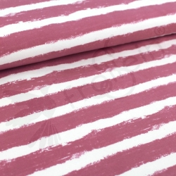 Organic Sweat Fabric - Mellow Stripes -Vintage Rose