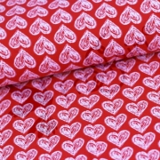 Organic Cotton Jersey - Hearts - Red