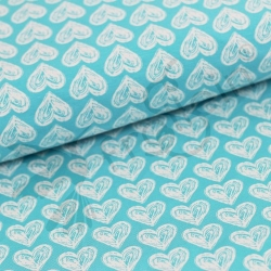 Organic Cotton Jersey - Hearts - Turquoise