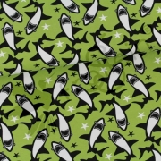 Organic Cotton Jersey - Circling Sharks - Green