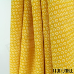 Organic Cotton Jersey - Circles N Dots - Mustard Yellow