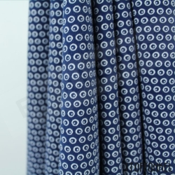 Organic Cotton Jersey - Circles N Dots - Navy Blue