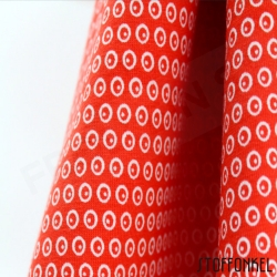 Organic Cotton Jersey - Circles N Dots - Tomato Red