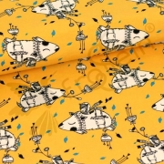Organic Cotton Jersey - Flying Hedgehogs-Corn