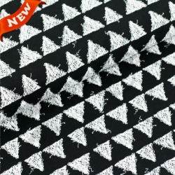 Organic Cotton Jersey - Scribble Triangles - Black