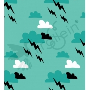 Organic Cotton Jersey - Super Hero Clouds