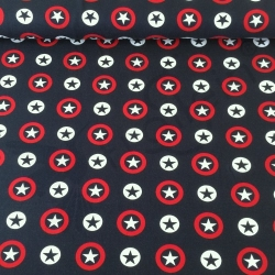 Cotton Jersey - Circled Stars - Navy