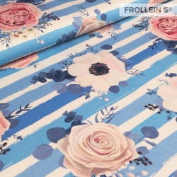Cotton Jersey - Roses on Stripes-Blue