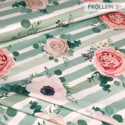 Cotton Jersey - Roses on Stripes-Green