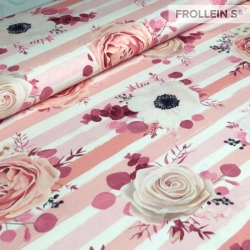 Cotton Jersey - Roses on Stripes-Pink