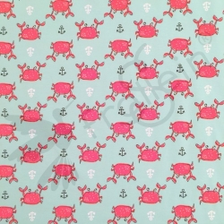 Cotton Jersey - Crabs - Mint