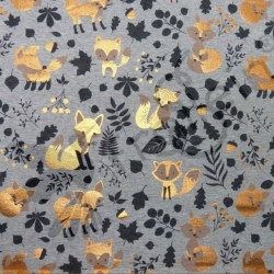 Cotton Jersey - Foxes - Bronze