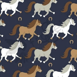 Fat Half - Cotton Jersey - Horses-Navy