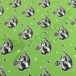 Cotton Jersey - Doodle Dragon - Green
