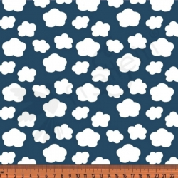 Fat Half - Cotton Jersey - Mini Clouds-Blue