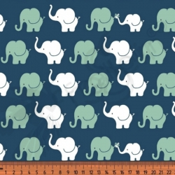 Cotton Jersey - Mini Elephants-Blue