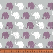 Cotton Jersey - Mini Elephants-Gray