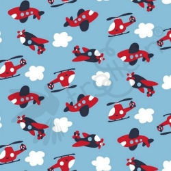 Cotton Jersey - Planes-Helis-Blue